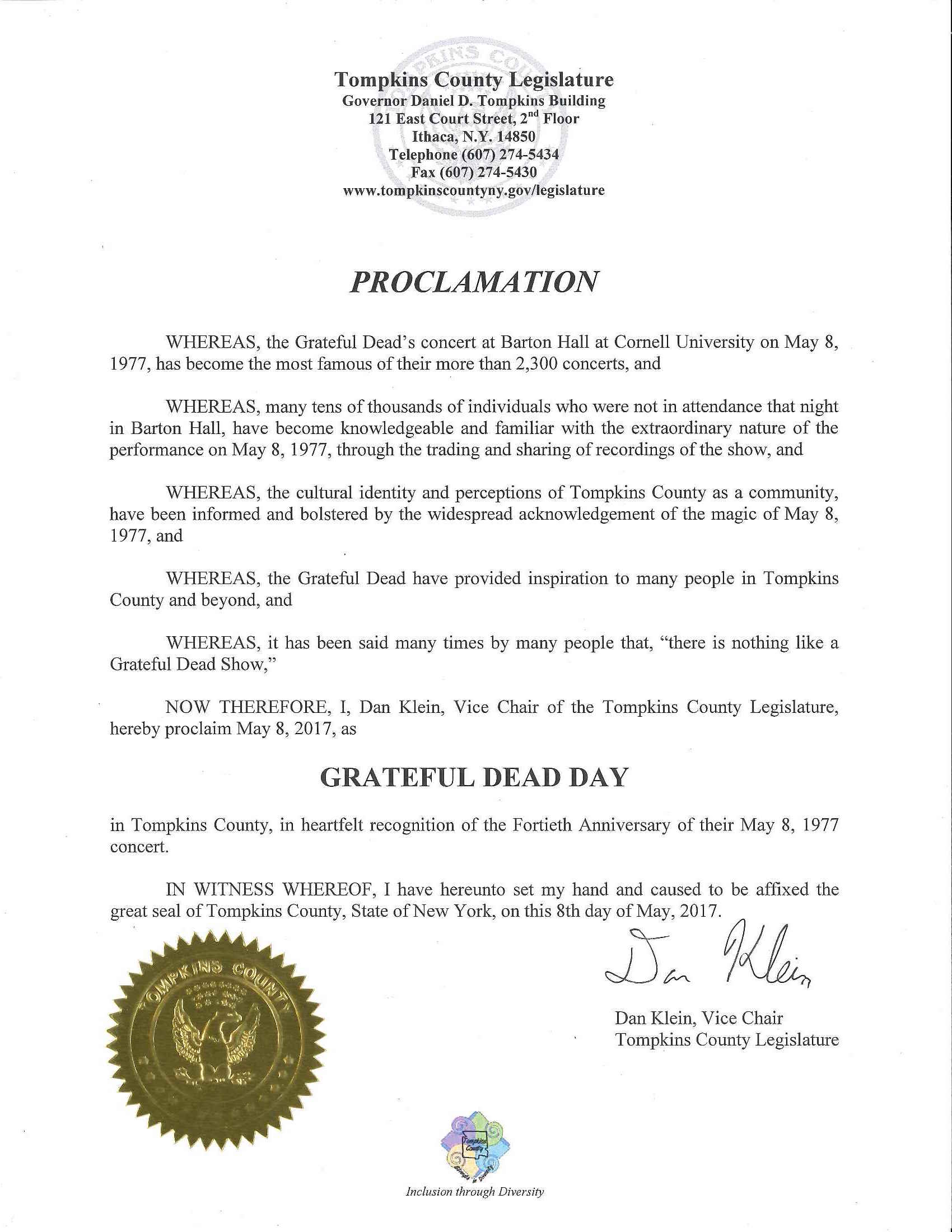 New york tompkins county ithaca 14850 - Tompkins County Legislature Proclaims May 8 2017 To Be Grateful Dead Day Sage House News The Cornell University Press Blog