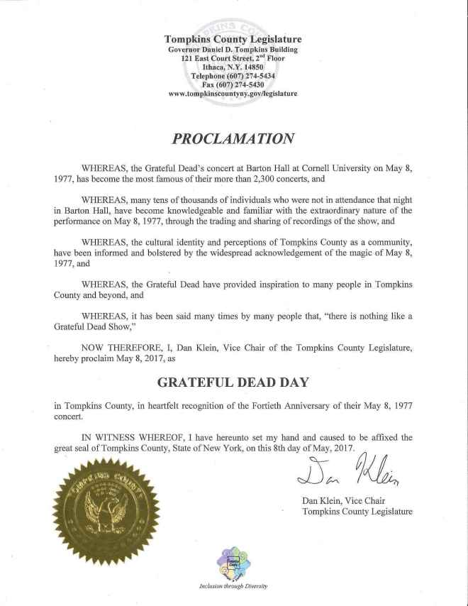 Grateful Dead Proclamation certified